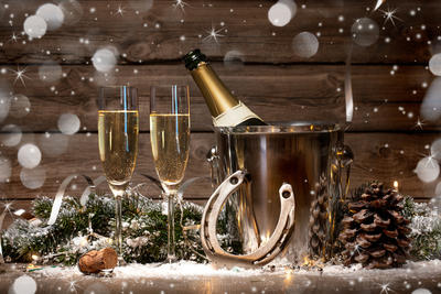 Bild vergrößern: New Years Eve celebration background with pair of flutes and bottle of champage in  bucket  and a horseshoe as lucky charm